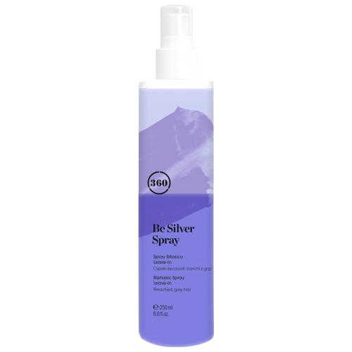 Фото - 360 Антижелтый двухфазный несмываемый спрей-кондиционер для светлых волос 250 мл (360, Be Silver) kaaral кондиционер для волос 360 be silver 1000 мл