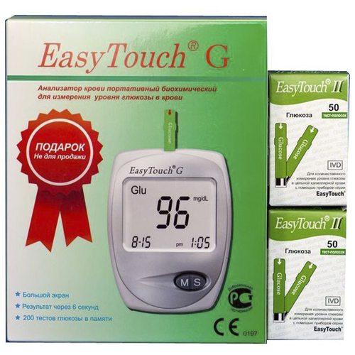 EasyTouch Тест-полоски Глюкоза N50X2 + Глюкометр Easy Touch G (EasyTouch, Глюкометр)