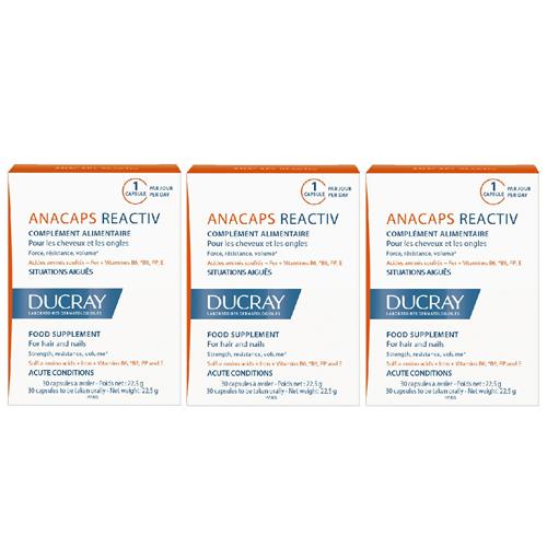 Ducray Набор: Биологически активная добавка к пище для волос и кожи головы, 3*30 (Ducray, Биодобавка к пище) ducray anacaps tri activ 3 x 30 capsules