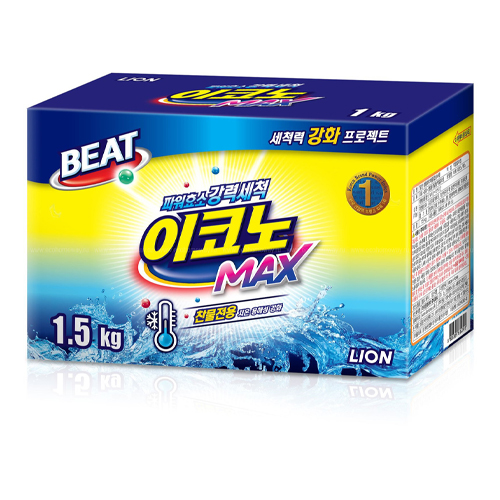 Cj Lion Концентрированный стиральный порошок для ручной и автоматической стирки в холодной воде для всех видов тканей Beat Econo Max коробка 1,5 кг (Cj Lion, Стирка Cj Lion)
