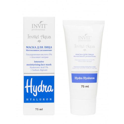 Invit Маска для лица Интенсивное увлажнение Гиалуроновая кислота 3% + Альгинат натрия 75 мл (Invit, Invitel Aqua)