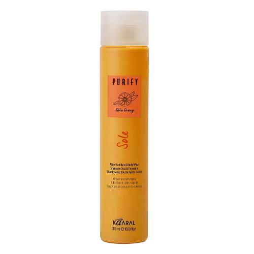 Купить Kaaral Шампунь и гель для душа 2 в 1 после загарасосмягчающим и успокаивающим эффектом After-Sun Hair & Body Wash 300 мл (Kaaral, Purify), Италия