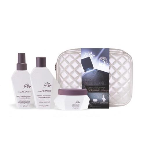 Купить L'Alga Дорожный набор Термозащита волос со спреем в белой стеганой косметичке 100 мл +100 мл +100 мл (L'Alga, Уход за волосами)