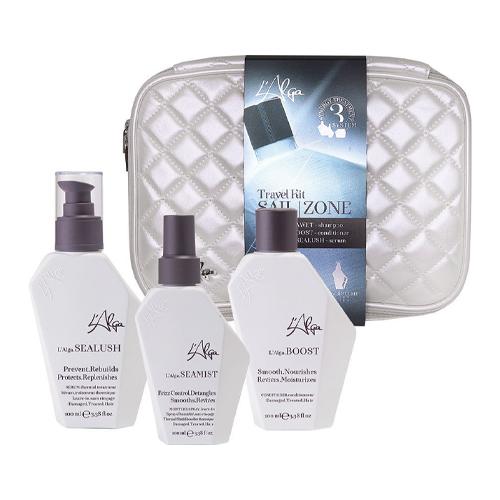 Купить L'Alga Дорожный набор Термозащита волос с сывороткой в белой стеганой косметичке 100 мл +100 мл +100 мл (L'Alga, Уход за волосами)