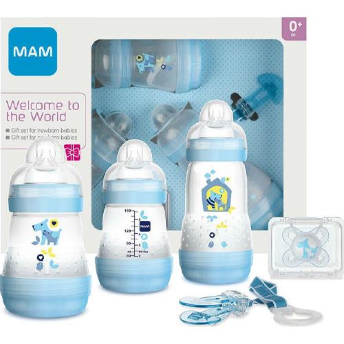 MAM Подарочный набор для новорожденных Welcome to the world Giftset голубой 0+ месяцев (MAM, Бутылочки для кормления и чашки)