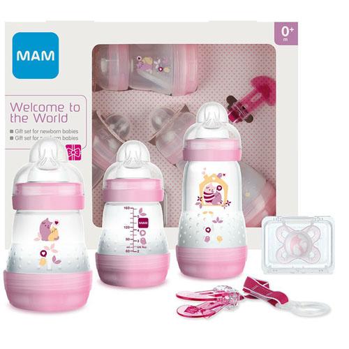 MAM Подарочный набор для новорожденных Welcome to the world Giftset розовый 0+ месяцев (MAM, Бутылочки для кормления и чашки)