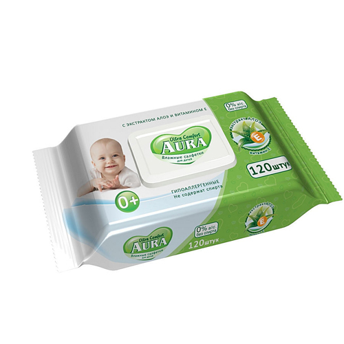 Купить Aura Влажные салфетки для детей Ultra Comfort с экстрактом алоэ и витамином Е 120 шт с крышкой (Aura, Влажные салфетки)