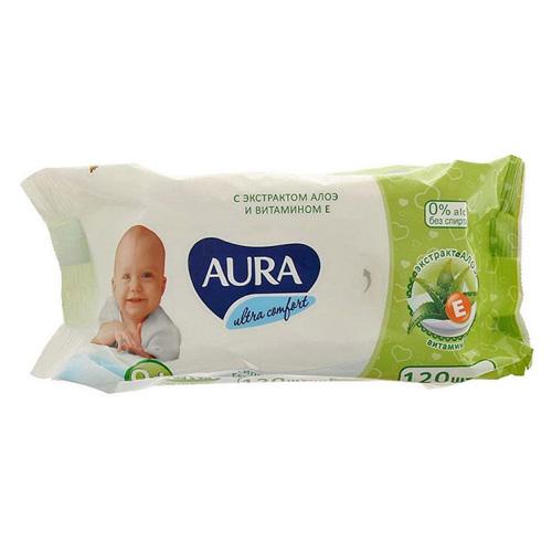 Aura Влажные салфетки для детей Ultra Comfort с экстрактом алоэ и витамином Е, 120 шт без крышки (Aura, Влажные салфетки) салфетки aura ultra comfort 100шт 6486