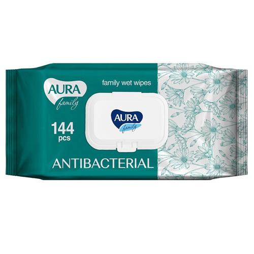 Купить Aura Влажные салфетки с антибактериальным эффектом Family big-pack с крышкой 144 шт (Aura, Влажные салфетки)