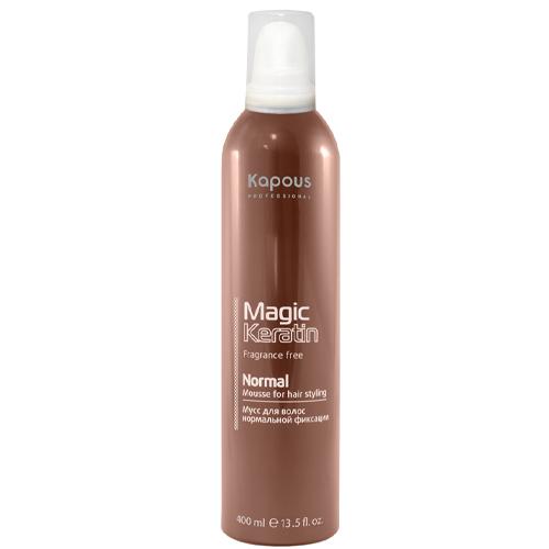 Купить Kapous Professional Мусс для укладки волос нормальной фиксации с кератином 400 мл (Kapous Professional, Fragrance free), Италия