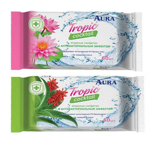 Купить Aura Влажные салфетки Tropic cocktail с антибактериальным эффектом 60 шт (Aura, Влажные салфетки)