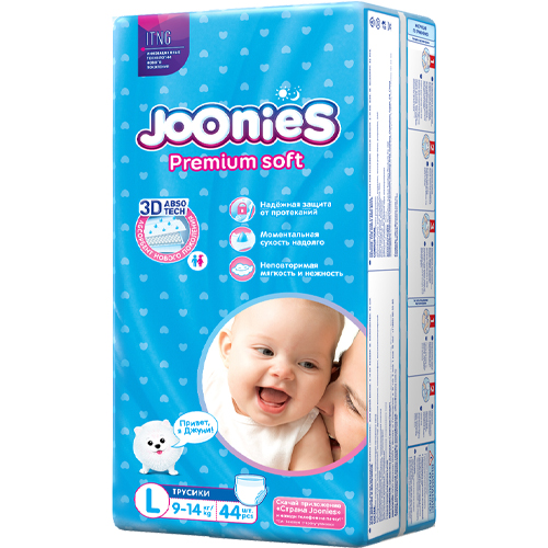 JOONIES Подгузники-трусики размер L (9-14 кг) 44 шт. (JOONIES, Premium Soft)