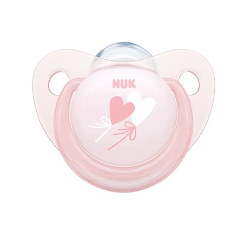 NUK Пустышка ортодонтическая Baby Rose силикон размер 1, шарик+ контейнер (NUK, Соски-пустышки и аксессуары)