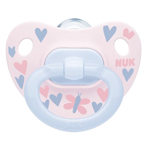 NUK Пустышка ортодонтическая Happy Days силикон, размер 1, бабочка + контейнер (NUK, Соски-пустышки и аксессуары)