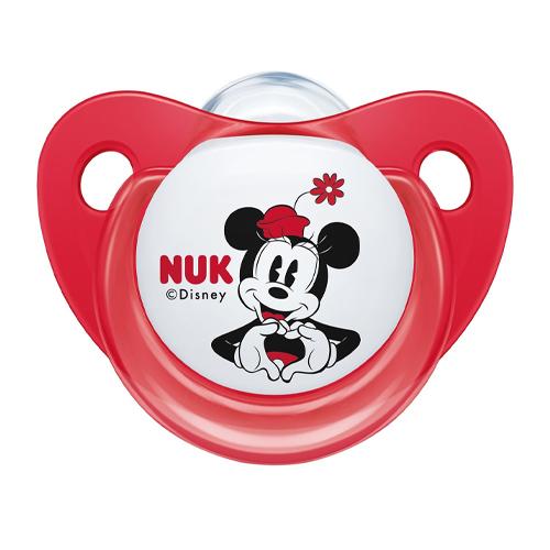NUK Пустышка ортодонтическая Дисней Микки Маус силикон, размер 2 Красный Минни + контейнер (NUK, Соски-пустышки и аксессуары)