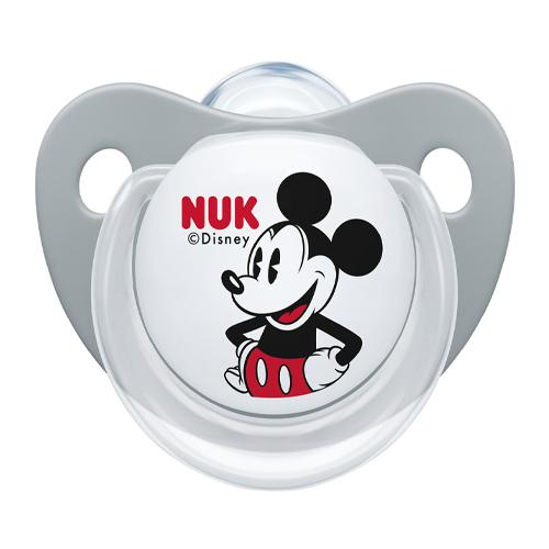 Купить Nuk Пустышка ортодонтическая Дисней Микки Маус силикон, размер 2 серый + контейнер (Nuk, Соски-пустышки и аксессуары)
