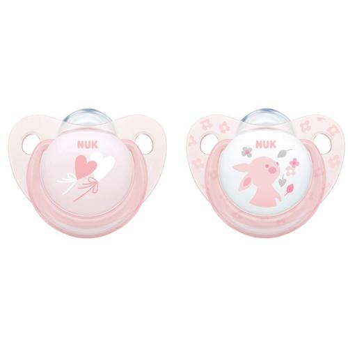 NUK Пустышка Trendline ортодонтическая Baby Rose силикон размер 2 (NUK, Соски-пустышки и аксессуары)