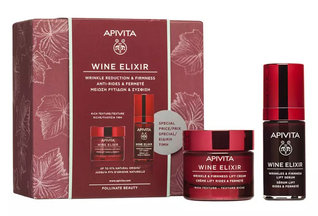 Apivita Набор Wine Elixir: Крем насыщенный, 50 мл + Сыворотка, 30 мл (Apivita, Wine Elixir)