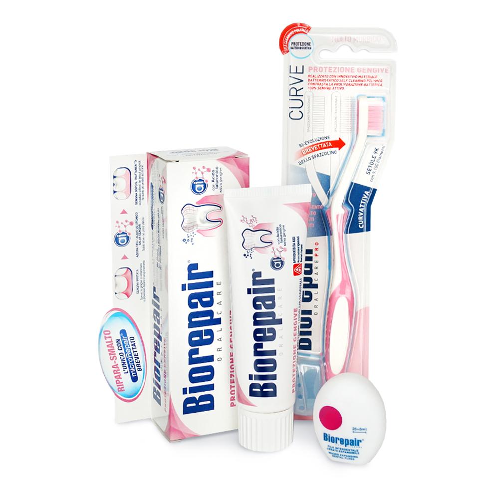 Купить Biorepair Набор для чувствительных десен: Зубная паста Gum Protection, 75 мл + Зубная нить Filo Cerato Espandibile, 30 м + Зубная щетка CURVE Protezione Gengive (Biorepair, Ежедневная забота), Италия