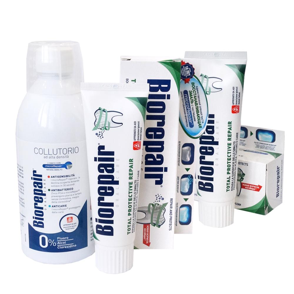 Купить Biorepair Набор комплексная защита: Зубная паста для комплексной защиты Total Protection, 75 мл х 2 шт. + Антибактериальный ополаскиватель для полости рта Mouthwash 3 in 1, 500 мл (Biorepair, Уход за зубами), Италия