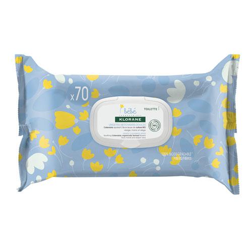 Klorane Детские очищающие салфетки с экстрактом календулы 70 шт (Klorane, Bebe)