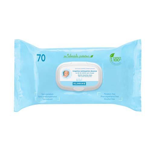Бебе Салфетки очищающие с экстрактом Календулы 70 шт (Klorane, Klorane Bebe) салфетки mustela мустела бебе салфетки для лица очищающие детские 25 шт 25 штук
