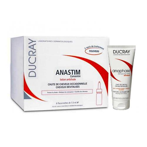 Набор Лосьонконцентрат от выпадения волос Анастим 8х7,5 мл Шампунь Анафаз 50 мл (Ducray, Anastim) цена