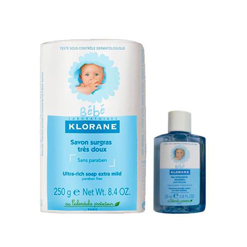 Набор Bebe: Детское Сверхпитательное мыло 250 г + Детcкая мицеллярная вода 25 мл (Klorane Bebe)