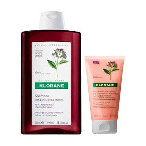 Набор для путешествий: Шампунь Укрепляющий 100 мл + Бальзам с Хинином и витаминами 50 мл (Thinning Hair) (Klorane)