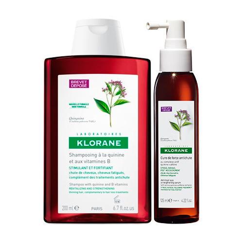 Набор: Шампунь с экстрактом Хинина 200 мл + Концентрат укрепляющий 125 мл (Thinning Hair) (Klorane)