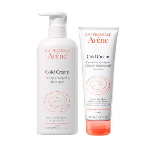 Avene Набор Колд-крем: Эмульсия для тела, 400 мл + Очищающий сверхпитательный гель, 200 мл (Cold Cream)