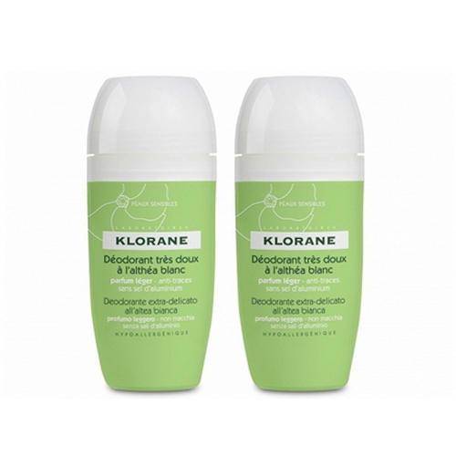 Дезодорант шариковый сверхмягкий с белым алтеем 40 мл х 2 шт. (Klorane, Deodorant)