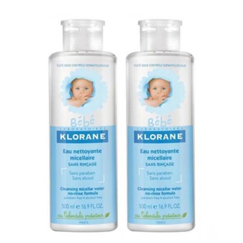 Набор Детcкая мицеллярная вода с экстрактом календулы 2 х 500 мл (Klorane, Klorane Bebe) мягкий пенящийся гель для волос и тела 500 мл klorane klorane bebe