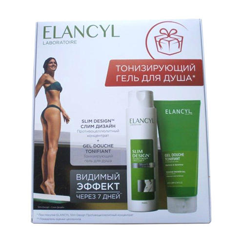 Elancyl Набор Тонизирующий Гель для душа 200 мл + Slim Design Противоцеллюлитный концентрат 200 мл (Cellu Slim)