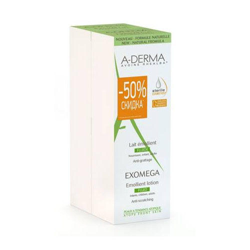 Экзомега D.E.F.I. Смягчающий Лосьон 2х200 мл (ADerma, Exomega) набор 2 крема для рук 50 мл скидка на второй продукт 50 aderma essential