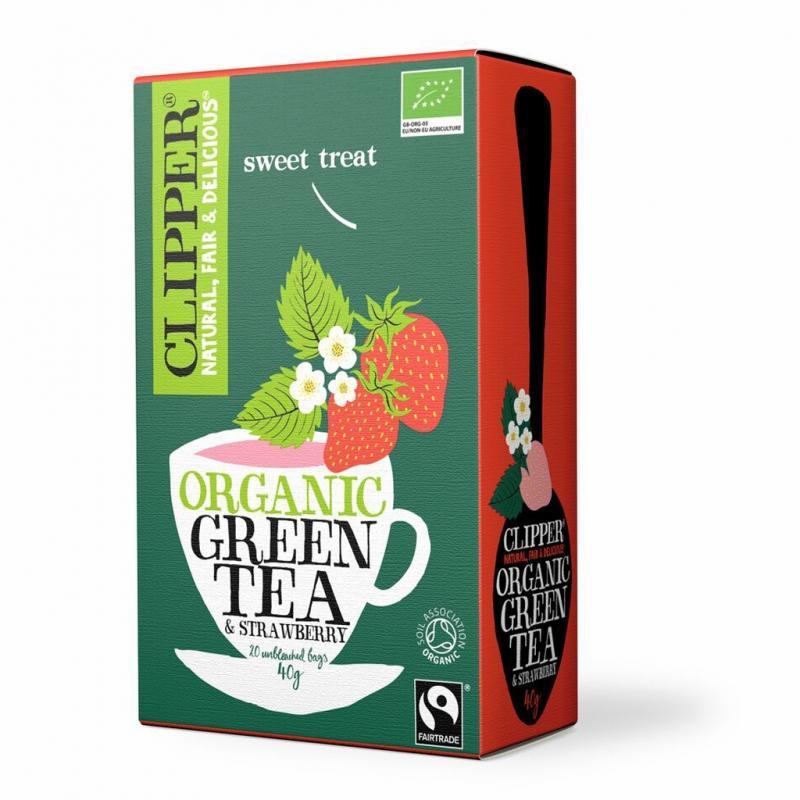 Зеленый с клубникой Органик 20 пак. (Clipper, Green Tea) ecolife экомед с клубникой 250 г