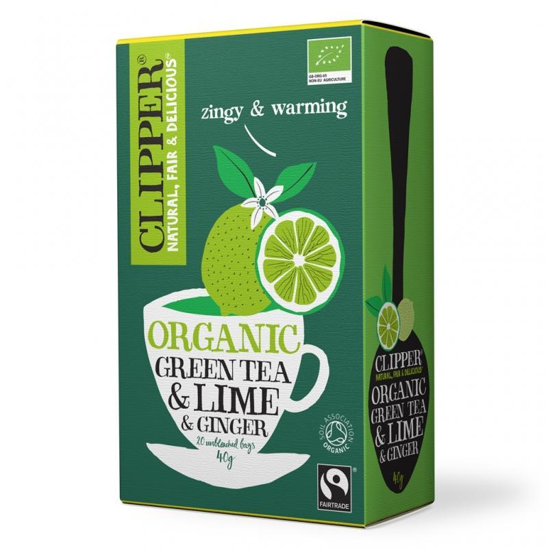 Зеленый с лаймом и имберем Органик (20 пак.) (Clipper, Green Tea) clipper чай зеленый с лаймом и имбирем органик 20 пакетов