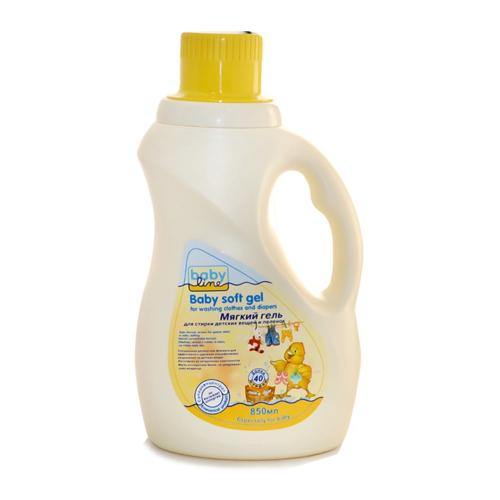 Baby line Мягкий гель для стирки детских вещей и пеленок, 850 мл (Безопасная детская бытовая химия)