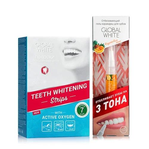 Купить Global white Набор Отбеливающие полоски для зубов Активный кислород 7 дней + Отбеливающий карандаш-апликатор со вкусом фруктов 5 мл (Global white, Отбеливающие системы), Италия