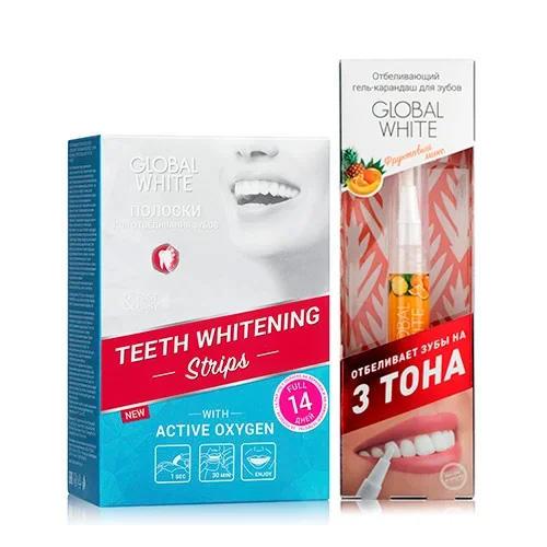 Global white Набор Отбеливающие полоски для зубов Активный кислород 14 дней + Отбеливающий карандаш-апликатор со вкусом фруктов 5 мл (Global white, системы)
