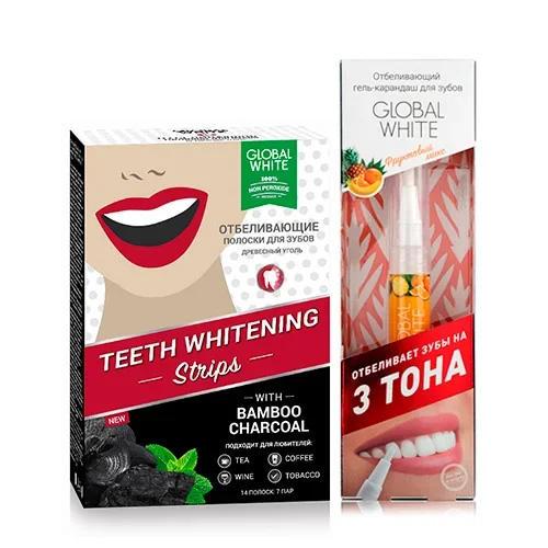 Global white Набор Полоски для отбеливания зубов Древесный уголь 7 шт + Отбеливающий карандаш-апликатор со вкусом фруктов 5 мл (Global white, Отбеливающие системы) полоски для отбеливания зубов древесный уголь 7 дней teeth whitening 7 шт