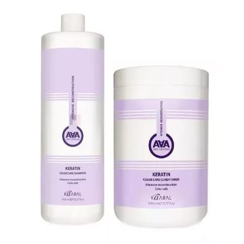 Купить Kaaral Набор ААА для восстановления окрашенных и химически обработанных волос: Шампунь, 1000 мл + Кондиционер, 1000 мл (Kaaral, Keratin Color Care), Италия