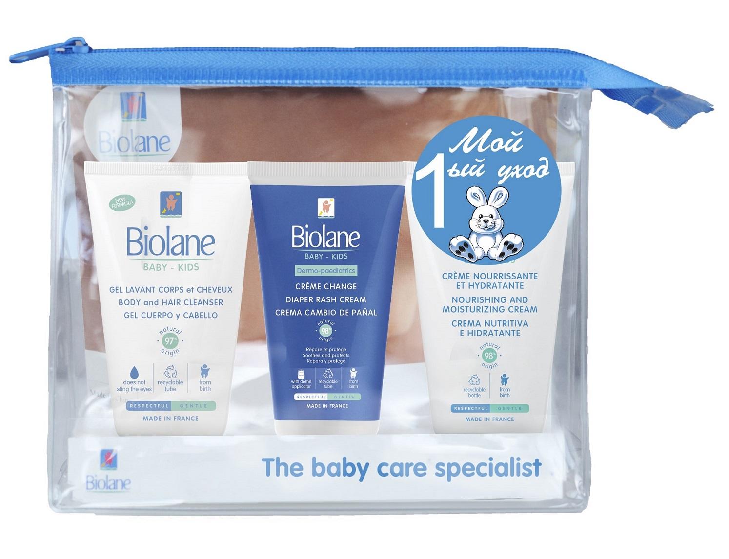 Купить BIOLANE Набор Мой первый уход : детский увлажняющий крем + специальный защитный крем от опрелостей + гель для купания 2-в-1 (BIOLANE, Уход за детской кожей)
