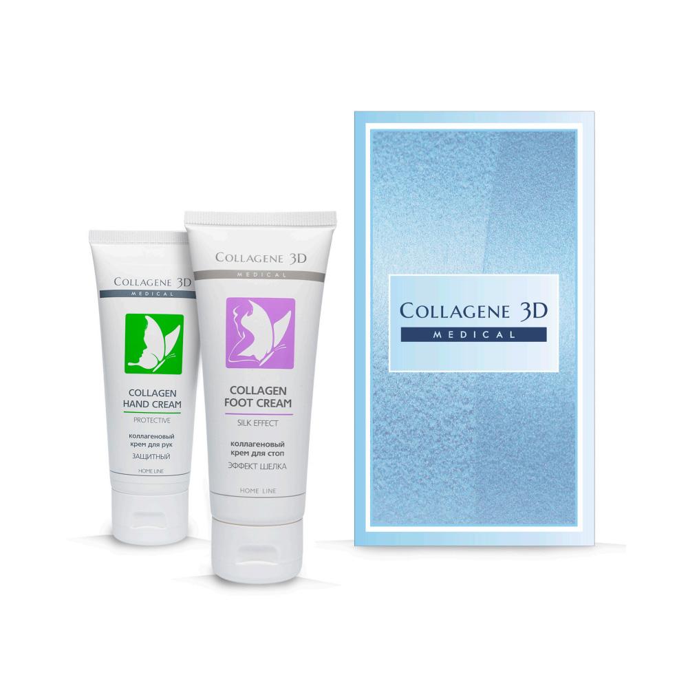 Купить Collagene 3D Подарочный набор Нежная кожа : Крем для рук Защитный 75 мл + Крем для стоп Silk Effect 75 мл (Collagene 3D, Ideal Body), Россия