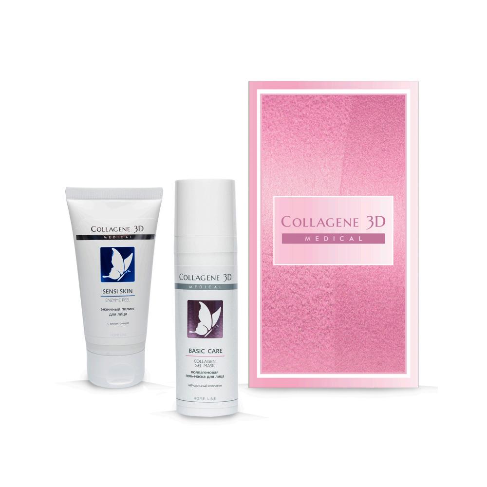 Купить Collagene 3D Подарочный набор Восстановление и комфорт : Гель-пилинг для лица энзимный Sensi skin, 50 мл + Гель-маска чистый коллаген 30 мл (Collagene 3D, Peeling), Россия