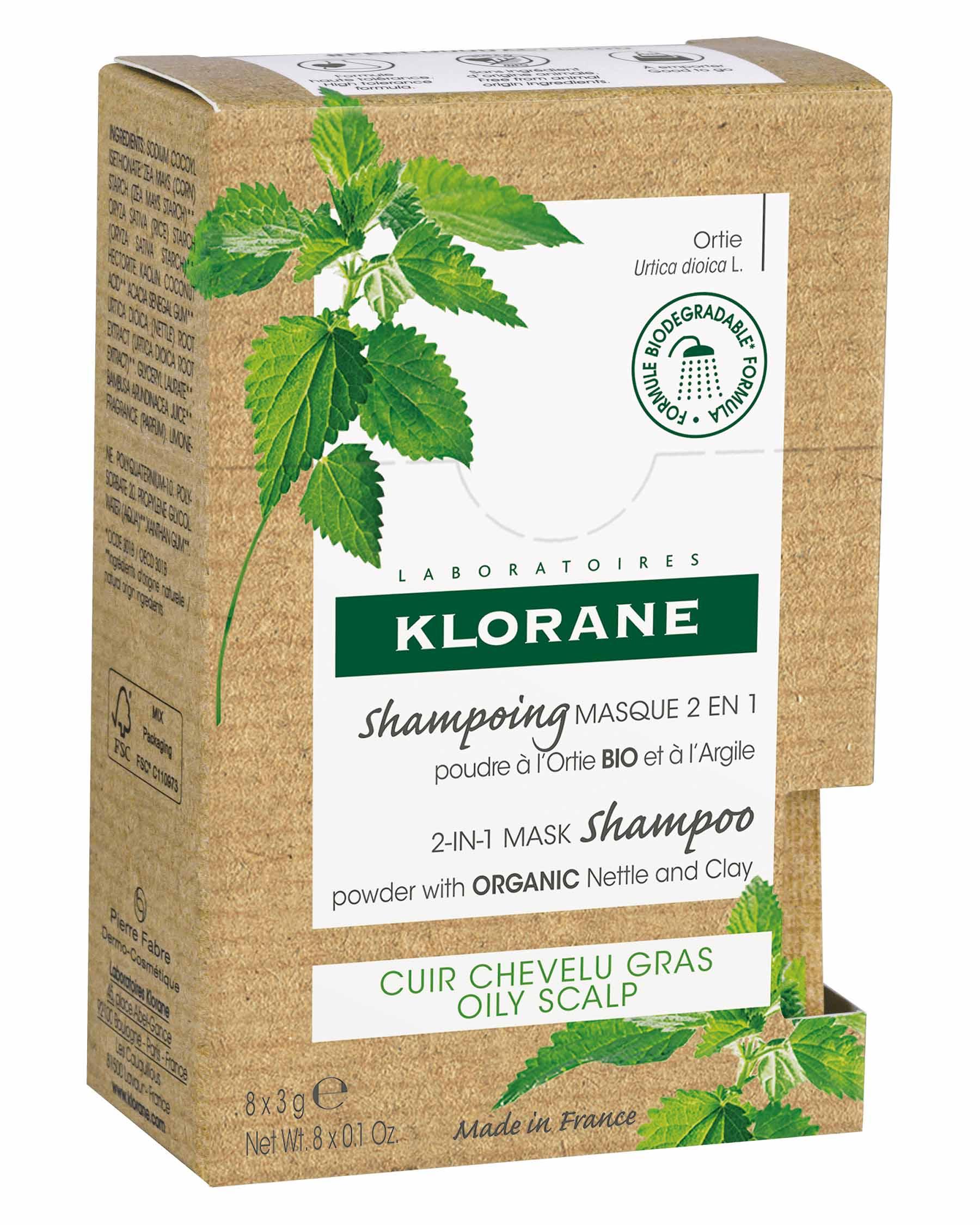Купить Klorane Порошковый шампунь-маска 2в1 с экстрактом крапивы и глины, 8 саше х 3 г (Klorane, Oily Prone Hair), Франция