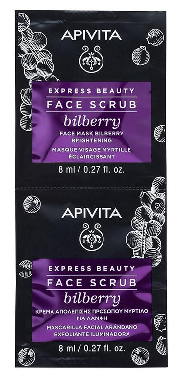 Купить Apivita Скраб-эксфолиант для лица с Черникой, 2x8 мл (Apivita, Express Beauty), Греция
