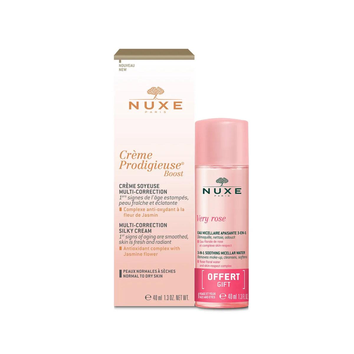 Купить Nuxe Набор: Мультикорректирующий крем для лица Boost, 40 мл + Мицеллярная вода для лица и глаз 3 в 1, 40 мл (Nuxe, Creme Prodigieuse), Франция