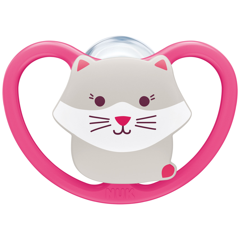 Купить Nuk Силиконовая пустышка Space ортодонтической формы Кошка, размер 1, 0-6 месяцев (Nuk, Соски-пустышки и аксессуары)