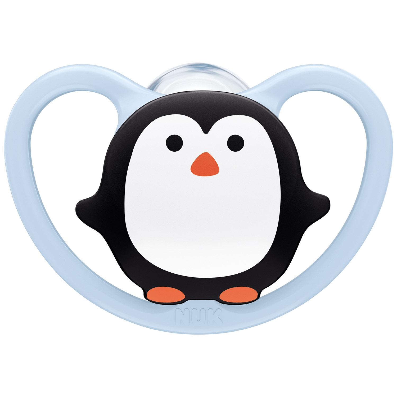 Купить Nuk Силиконовая пустышка Space ортодонтической формы Пингвин, размер 1, 0-6 месяцев (Nuk, Соски-пустышки и аксессуары)